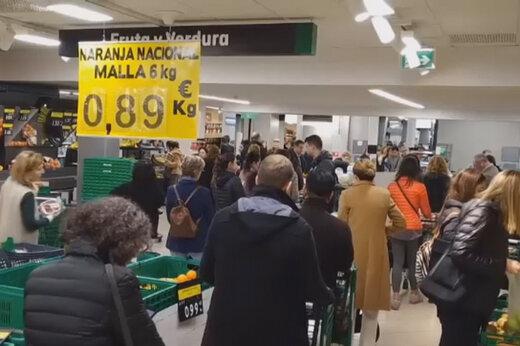 ببینید | هجوم مردم به سوپرمارکت ها در پایتخت اسپانیا