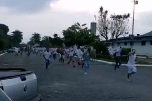 ببینید | فرار زندانی ها از زندان بدلیل شیوع کرونا - برزیل