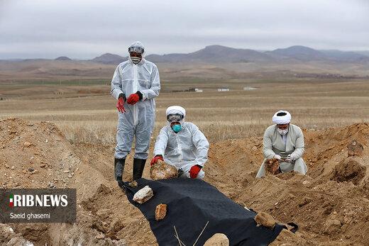 ضد عفونی و تدفين بيماران مبتلا به کرونا در اهر