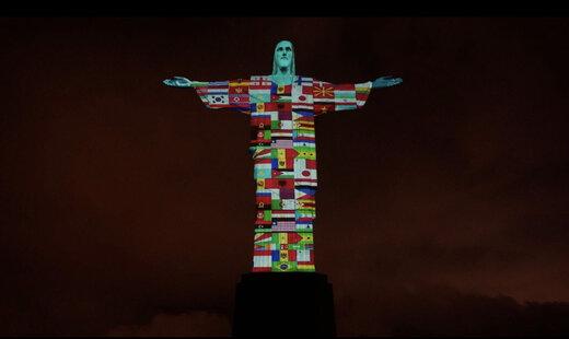 ببینید | پرچم ایران و باقی کشورهای درگیر کرونا روی مجسمه بزرگ مسیح ریودو ژانیرو