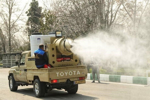 ببینید   صف خودروهای نیروی زمینی سپاه برای ضدعفونی کردن تهران