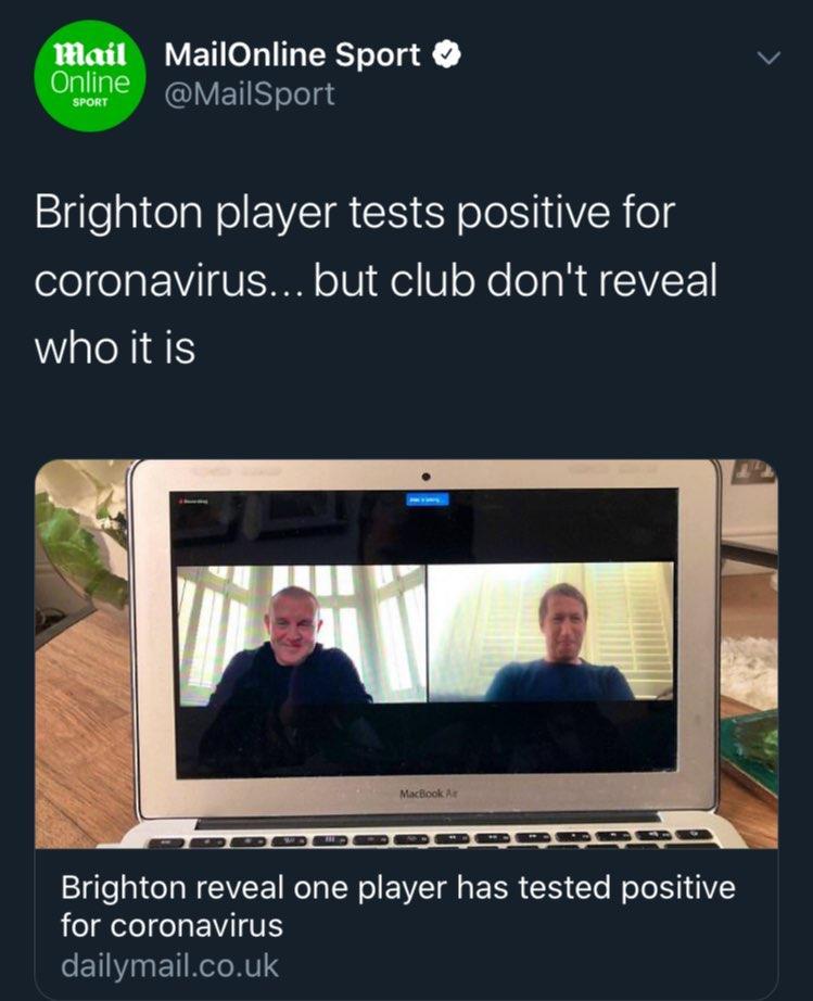 ظاهرا یکی از بازیکنان تیم فوتبال برایتون به ویروس کرونا مبتلا شده است.