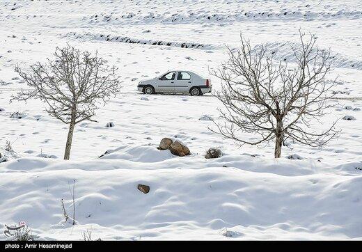 برف بهاری در جادههای این دو استان