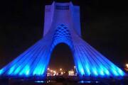 ببینید | تغییر رنگ برج آزادی تهران به خاطر بیماران اوتیسم