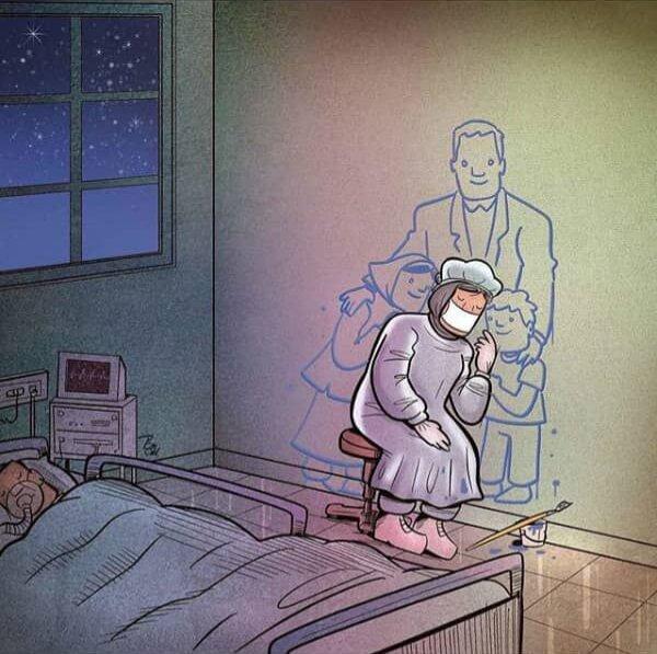 تصویر این پرستار در کنار خانوادهاش را ببینید!
