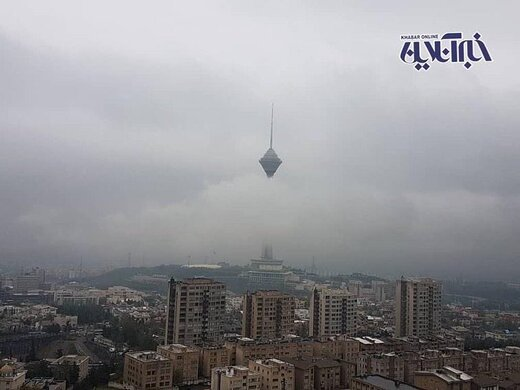 آسمان مه آلود و زیبایی امروز تهران