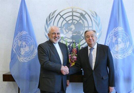 ظريف وغوتيريش يبحثان الحظر الأميركي غير القانوني على ايران والوضع في اليمن