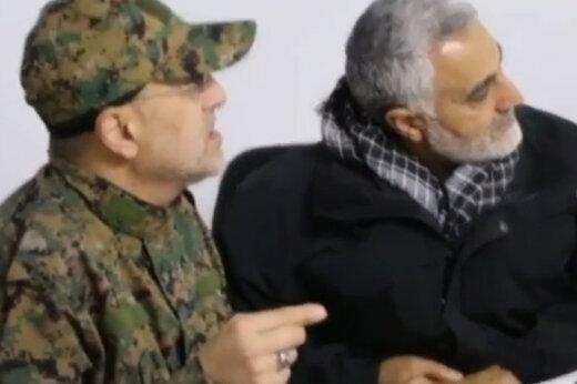 ببینید شهید سلیمانی و فرمانده نظامی حزب الله لبنان در اتاق