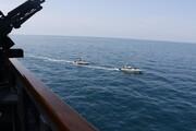 ببینید | سپاه پاسداران منتشر کرد:تصاویر رصد ناو آمریکایی در خلیج فارس توسط ۱۱ قایق تندروی ایرانی