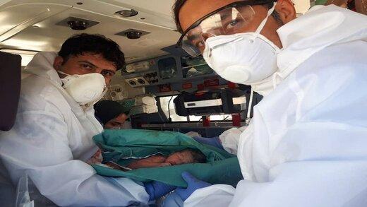تولد نوزاد عجول گنابادی در بالگرد اورژانس