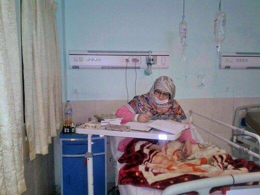 فعالیت طلبه گلستانی مبتلا به کرونا در بیمارستان