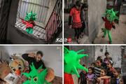 عکس | معلم فلسطینی در لباس کرونا
