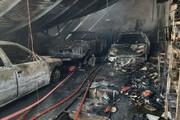 ببینید | حادثه آتش سوزی تعمیرگاه خودرو در غرب به شرق بزرگراه همت