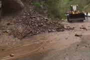 ببینید | سیلاب و ریزش کوه در در جاده چالوس
