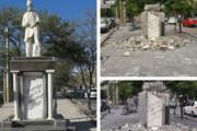 عکس | نابودی تندیس فردوسی در یکی از  خیابان های قزوین