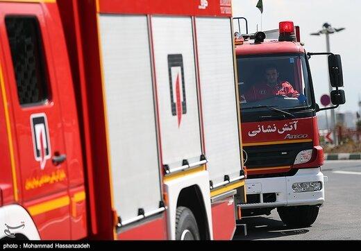عملیات نجات در آتشسوزی گسترده ساختمان ۶ طبقه شادآباد/ تصاویر