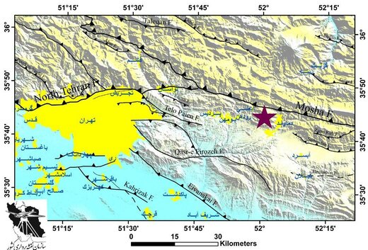 علت زلزله بامداد امروز مشخص شد؛ فعال شدن گسل مشاء  در نزدیکی دماوند