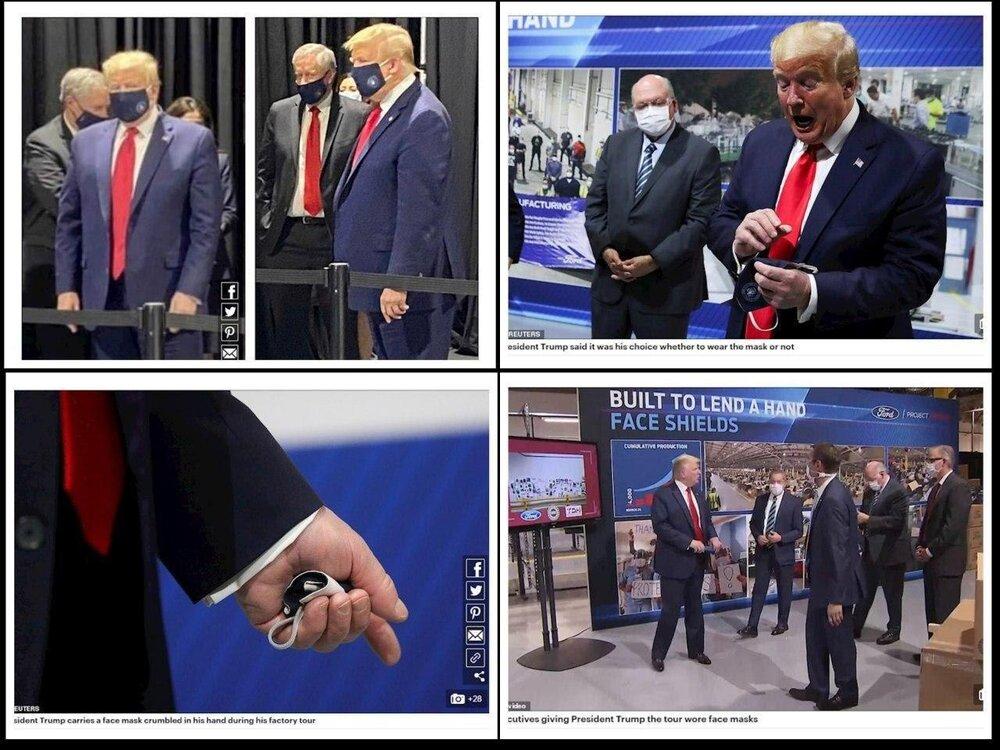 ترامپ بالاخره مجبور شد ماسک بزند!