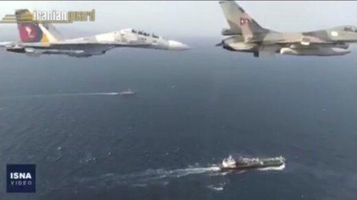 ببینید | اسکورت نفتکش ایرانی توسط جنگندهها و رزمناوهای ونزوئلا