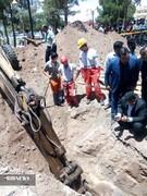 نجات یک مقنی از عمق چاه در رفسنجان