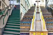 تصاویر | جنجال در شبکههای اجتماعی بر سر رنگ آمیزی ناگهانی  پلههای قشنگ روبروی پارک ساعی!