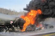 ببینید | واژگونی و انفجار تانکر سوخت در جاده دماوند