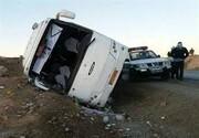 مصدومیت ۱۳ نفر به دلیل واژگونی مینیبوس در کرمانشاه