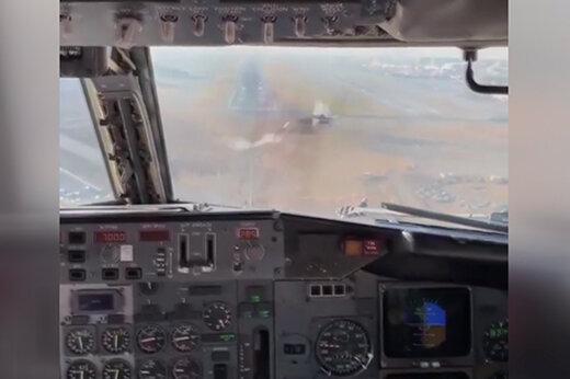 ببینید | صحنه دردناک برخورد پرنده با شیشه کاکپیت کمک خلبان در هنگام نزدیک شدن به باند فرودگاه مهرآباد