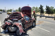 ترافیک در جاده بهشت زهرا به خاطر تصادف کامیون و سواری