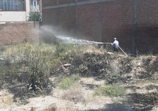 آتش گرفتن پوشش گیاهی زمین خالی در مهاباد