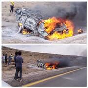 رئیس پلیس راه همدان: واژگونی و سپس آتش سوزی خودرو پراید ۲ کشته و ۳ مجروح برجای گذاشت