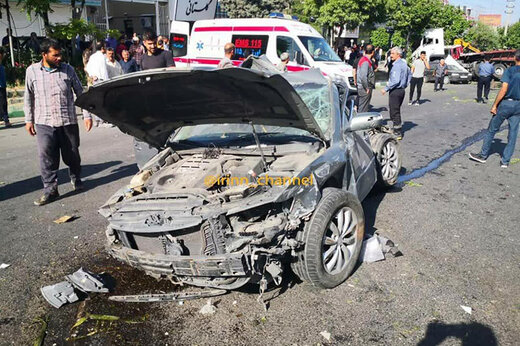 فیلم و عکس | حادثه واژگونی تریلر در گیلاوند