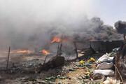 ببینید | آتشسوزی گسترده در انبار ضایعات اهواز