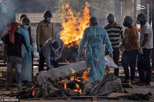 ببینید | ترافیک مرده سوزی اجساد کرونایی در هند