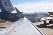 ببینید | برخورد دو هواپیمای مسافربری در فرودگاه سن پترزبورگ