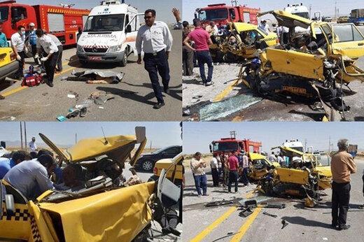 ببینید | برخورد ۲ دستگاه تاکسی، ۱۰ کشته و زخمی برجای گذاشت