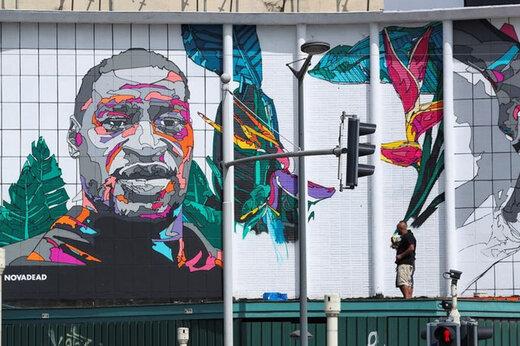 ببینید | رونمایی از نقاشی دیواری جورج فلوید در بروکسل