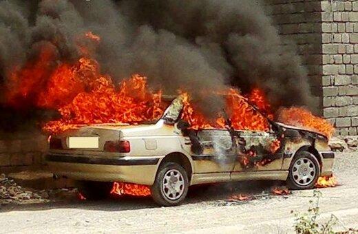 ببینید | آتش گرفتن ۲۴ خودرو در پارکینگ عمومی پردیس
