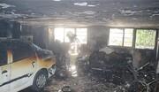 زن میانسال از میان دود و آتش نجات یافت