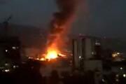 ببینید | حجم آتش در لحظه انفجار درمانگاه سینا در حوالی تجریش