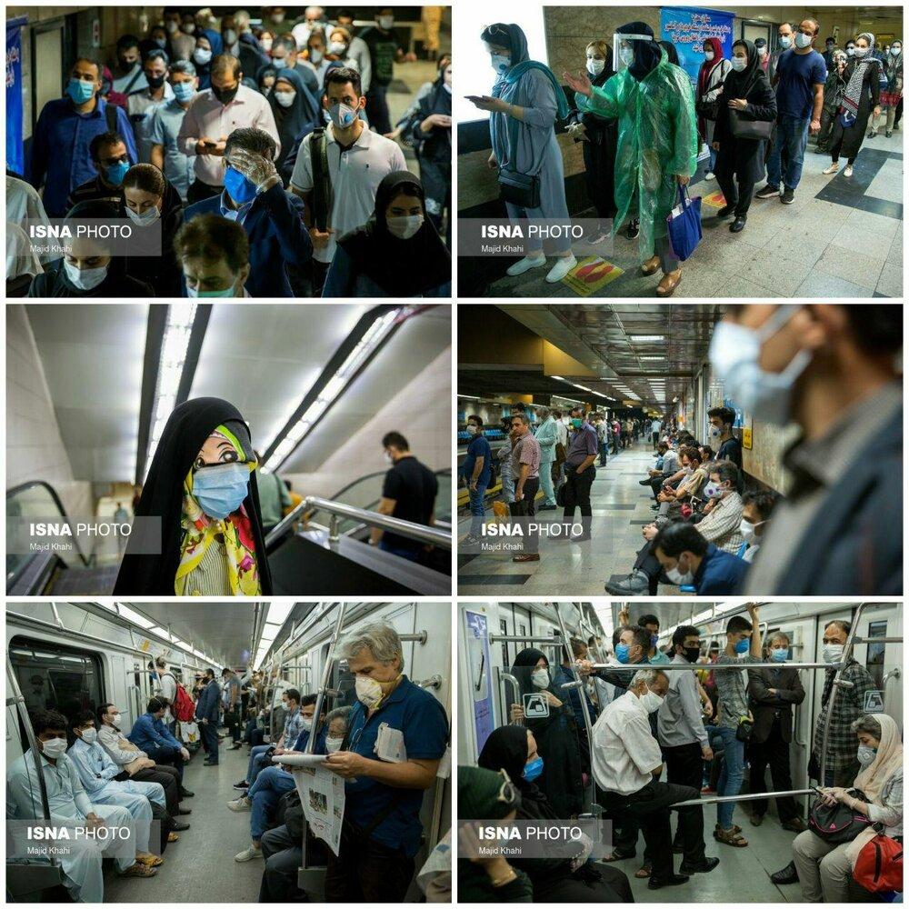 متروی تهران در روزهای «ماسک اجباری»