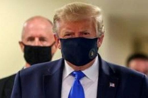 ببینید | ترامپ نخستین بار در انظار عمومی ماسک زد