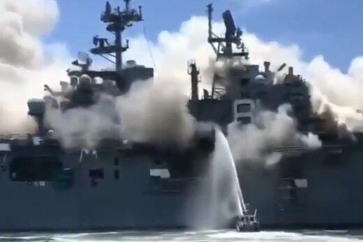 ببینید | تصاویر از فاصله نزدیک نابودی ناو هواپیمابر آمریکایی!