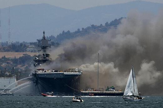 ببینید   جدیدترین تصاویر منتشر شده از انفجار و آتش سوزی در ناو آمریکایی بانهام ریچارد