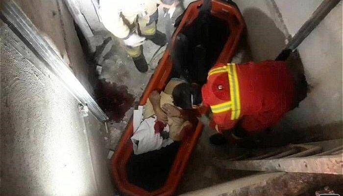 سقوط مرگبار کارگر از طبقه چهارم/ تصاویر