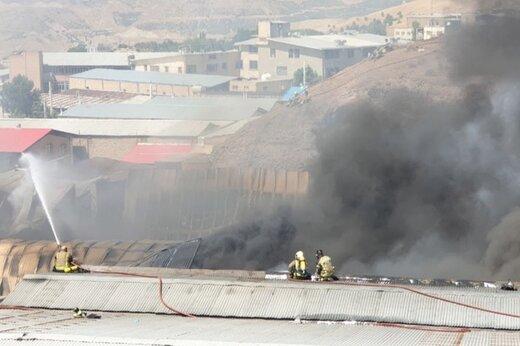 فیلم و عکس | آتش سوزی در شهرک صنعتی جاجرود