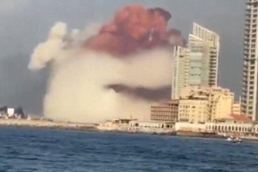 ببینید | لحظه انفجار بیروت از دریا