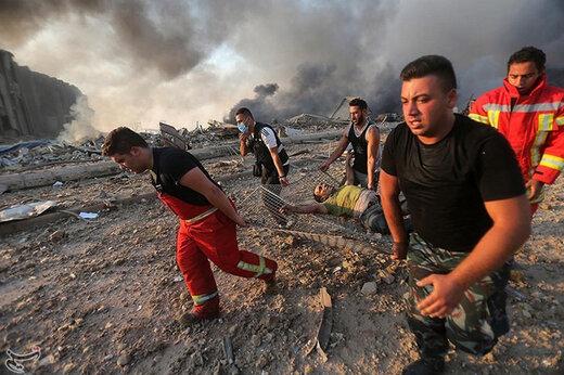 ببینید | تلاش مردم و نیروهای امداد برای نجات زیرآوار ماندگان در انفجار بیروت