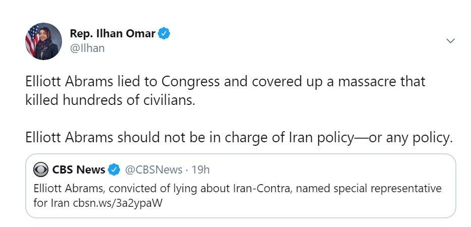 ایلهان عمر: آبرامز نباید مسوول سیاست در قبال ایران باشد