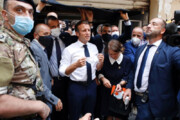 ببینید | بیاحترامی همراهان مکرون به رئیس جمهور لبنان